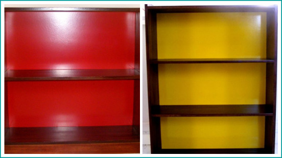Bookcase with hi gloss accents in red R1425, in yellow R1750