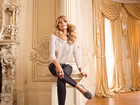 Ainsley Foiled Cable Sweater - R799 & Sophine wetlookponti jeggings - R99