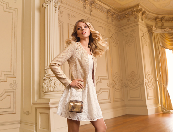 Bridgitte gold boucle jacket R1199 & Edwina embellished lace dress - R799