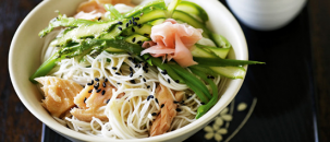 The Yummiest Salmon Noodle Salad!