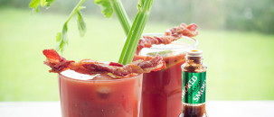 Bloody Mary with Tabasco Chipotle Drenched Bacon Twists