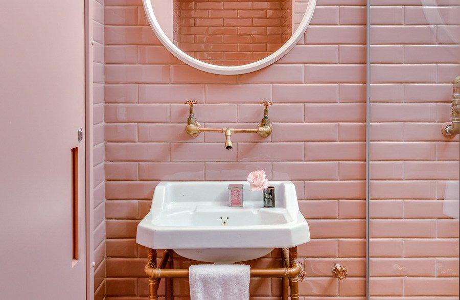 23 decoracao banheiro lavabo rosa subway tiles azulejos metro - Azulejos Rosa